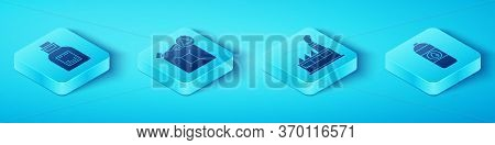 Set Isometric Oil Petrol Test Tube, Eco Fuel Canister, Canister For Motor Machine Oil And Oil Indust