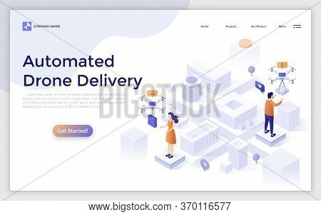 Landing Page With Man And Woman Standing On City Map And Receiving Packages Delivered By Quadcopters