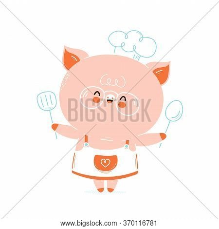 Cute Happy Smiling Pig Chef. Isolated On White Background. Vector Cartoon Character Illustration Des