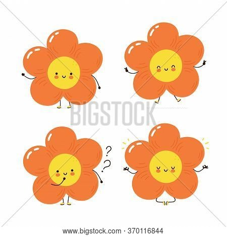 Cute Happy Flower Character Set Collection. Isolated On White Background. Vector Cartoon Character I