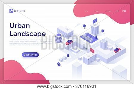 Landing Page With Urban Landscape, Modern Buildings, Automobiles Riding Along Streets And Place For