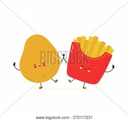 Cute Happy Smiling Potato And French Fries. Isolated On White Background. Vector Cartoon Character I