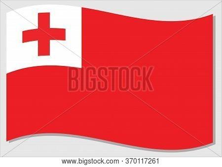 Waving Flag Of Tonga Vector Graphic. Waving Tongan Flag Illustration. Tonga Country Flag Wavin In Th