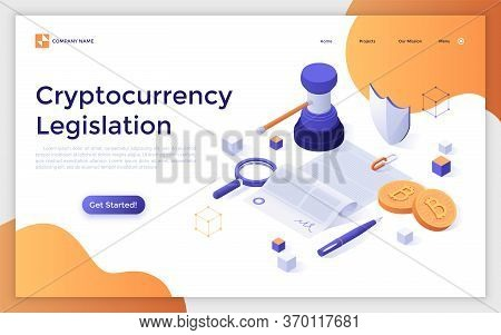 Landing Page Template With Document, Gavel, Bitcoins. Cryptocurrency Legislation, Legal Regulation O