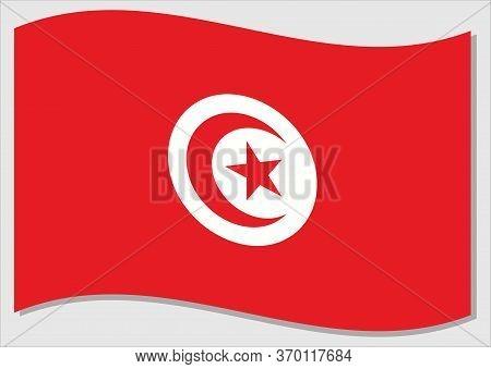 Waving Flag Of Tunisia Vector Graphic. Waving Tunisian Flag Illustration. Tunisia Country Flag Wavin
