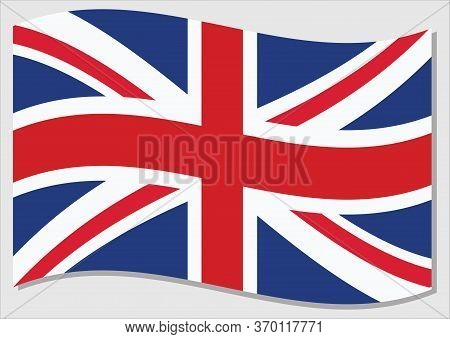 Waving Flag Of United Kingdom Vector Graphic. Waving British Flag Illustration. United Kingdom Count