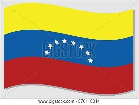 Waving Flag Of Venezuela Vector Graphic. Waving Venezuelan Flag Illustration. Venezuela Country Flag