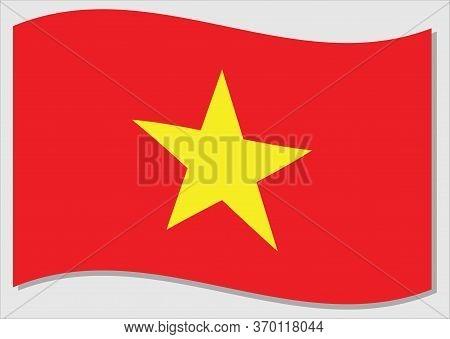 Waving Flag Of Vietnam Vector Graphic. Waving Vietnamese Flag Illustration. Vietnam Country Flag Wav