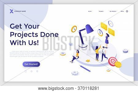 Landing Page Template With Group Of People Completed Work On Business Project. Task Management, Stra