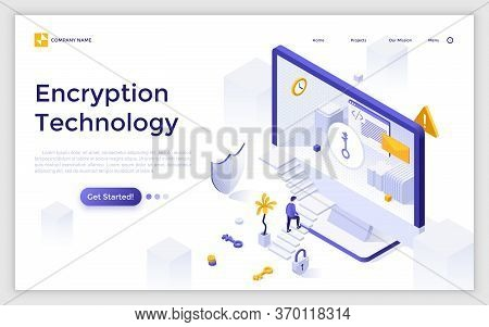 Landing Page Template With Man Ascending Stairs To Enter Computer Screen. Encryption Technology, Acc