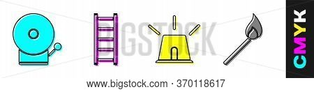 Set Ringing Alarm Bell, Fire Escape, Flasher Siren And Burning Match With Fire Icon. Vector
