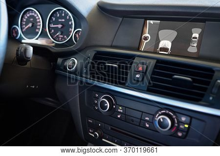 Grodno, Belarus - June 2020: Bmw X3 Ii F25 2.0i Xdrive Premium Car Interior Backup Parking Assistant