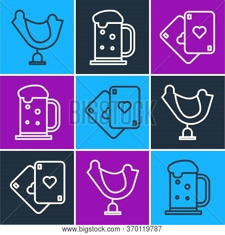 Set Line Wild West Saddle, Playing Cards And Wooden Beer Mug Icon. Vector