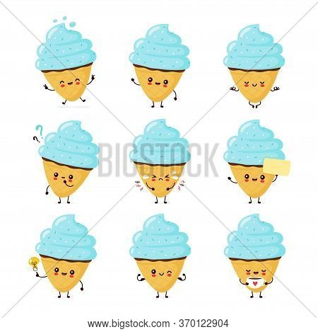 Cute Happy Smiling Ice Cream Cone Set Collection. Vector Flat Cartoon Character Illustration Icon De