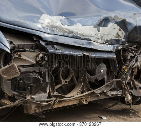 The Front Part Of The Car Involved In A Major Accident, As A Result Of The Accident, The Car Was Dam