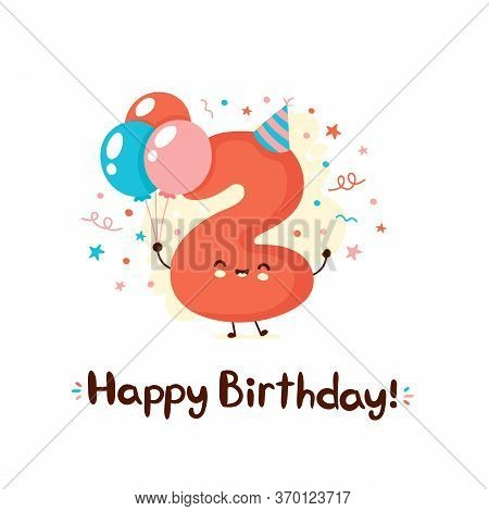 Cute Smiling Number Two With Balloons In Festive Hat. Happy Birthday 2 Year.vector Flat Cartoon Char