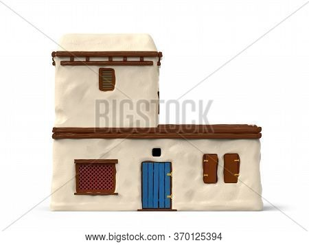 Adobe House Of Ancient Greece, Front View, Isolated On White. 3d Illustration