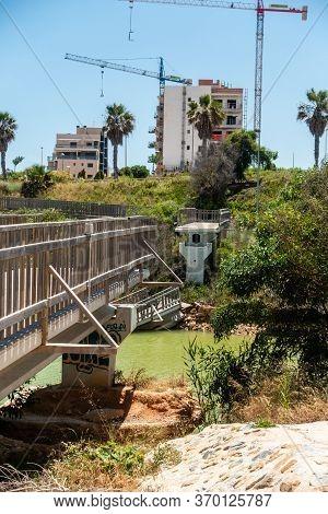 Mil Palmeras, Valenciana, Spain - June 03 2020 : Bridge Over River Destroyed By Recent Heavy Rain St