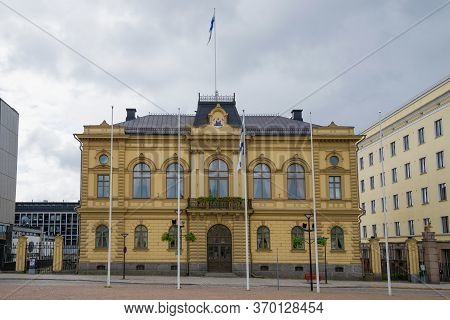 Hameenlinna, Finland - June 21, 2014: The Old Town Hall Building On A Cloudy June Morning