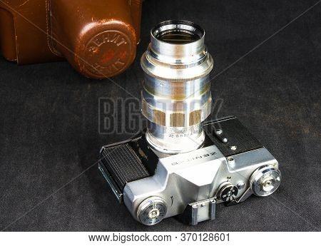 Old Soviet Film Slr Camera Zenit - B With Lens Jupiter-11