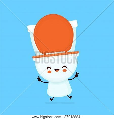 Cute Happy Smiling Toilet Bowl. Vector Flat Cartoon Character Illustration Icon Design. Wc, Toilet B