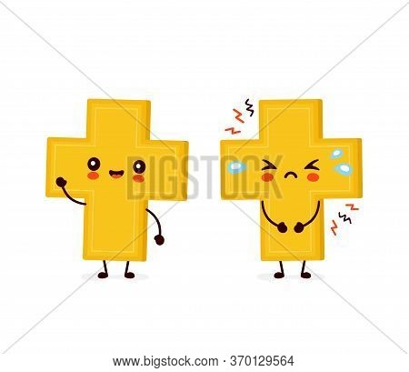 Cute Happy Smiling And Sad Cry Christian Cross. Vector Flat Cartoon Character Illustration Icon Desi