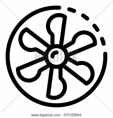 Fan Blades In A Circle Icon. Outline Fan Blades In A Circle Vector Icon For Web Design Isolated On W