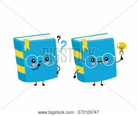 Cute Happy Smiling Book With Question Mark And Idea Lightbulb. Vector Flat Cartoon Character Illustr