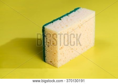 Yellow Sponge For Washing Dishes And Other Items, Close-up Of Kitchen Sponges