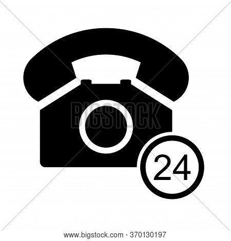 Old Phone 24 Hours Flat Icon Isolated On White Background. Hotline Symbol. Telephone Vector Illustra