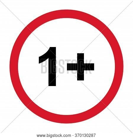 1 Restriction Flat Sign With Red Circle Isolated On White Background. Age Limit Symbol. No Under One