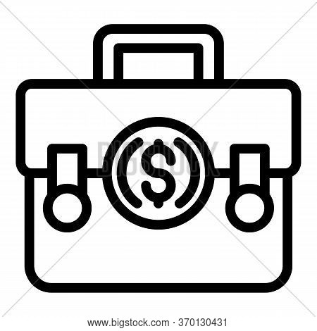 Money Suitcase Icon. Outline Money Suitcase Vector Icon For Web Design Isolated On White Background