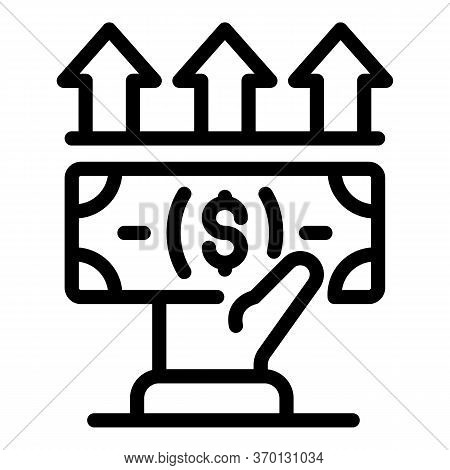 Giving Cash Icon. Outline Giving Cash Vector Icon For Web Design Isolated On White Background