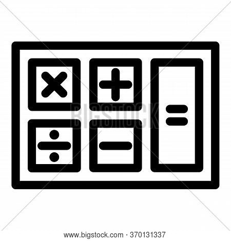 Math Calculator Icon. Outline Math Calculator Vector Icon For Web Design Isolated On White Backgroun
