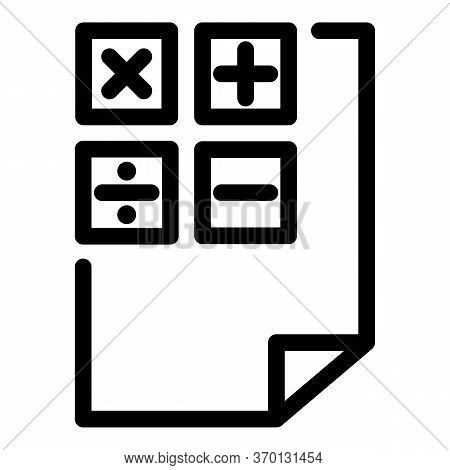 Calculation Paper Icon. Outline Calculation Paper Vector Icon For Web Design Isolated On White Backg