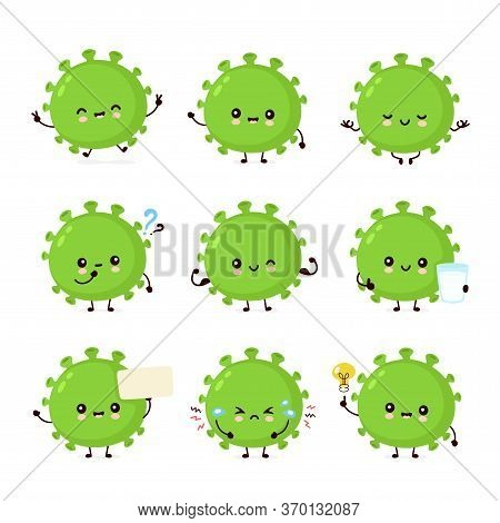 Cute Happy Good Probiotic Bacteria Set Collection. Vector Flat Cartoon Character Illustration Icon D