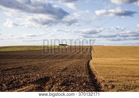 A Half Plowed Agricultural Field Where Wheat Is Harvested And The Remaining Stubble Is Plowed, Sky