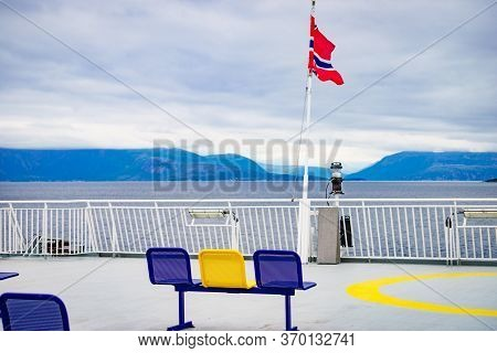 Ferry Deck With Empty Seats And Sea View. Ferryboat Ride Route Bognes - Lodingen To Lofoten Islands