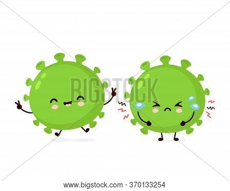 Cute Happy And Sad Cry Good Probiotic Bacteria. Vector Flat Cartoon Character Illustration Icon Desi