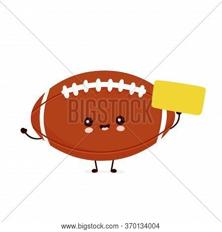 Cute Happy American Football Rugby Ball With Empty Sign. Vector Flat Cartoon Character Illustration