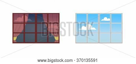 A Set Of Window Frames. Reflection Of A Sunny Day In The Glass. The View From The Window At The Sky