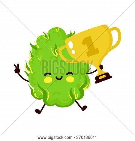 Cute Funny Smiling Happy Marijuana Weed Bud Hold Gold Trophy.vector Flat Cartoon Character Illustrat