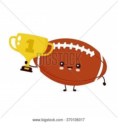 Cute Happy American Football Rugby Ball With Gold Trophy. Vector Flat Cartoon Character Illustration