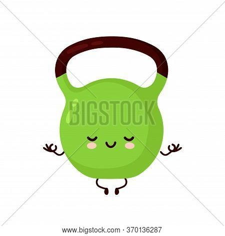Cute Smiling Happy Fitness Kettlebell Weight Meditate. Vector Flat Cartoon Character Illustration Ic