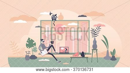 Free Time Vector Illustration. Relaxing At Home Flat Tiny Person Concept. Break From Work With Tea P