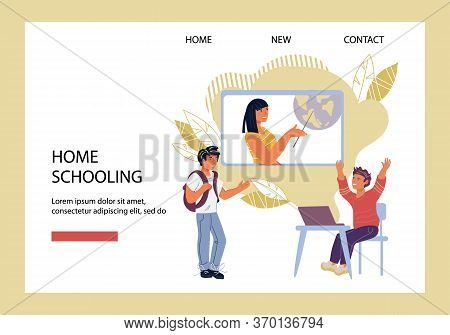 Children Homeschooling Or Distance Computer Education, E-learning Website Vector.