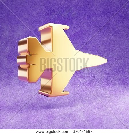 Fighter Jet Icon. Gold Glossy Fighter Jet Symbol Isolated On Violet Velvet Background. Modern Icon F