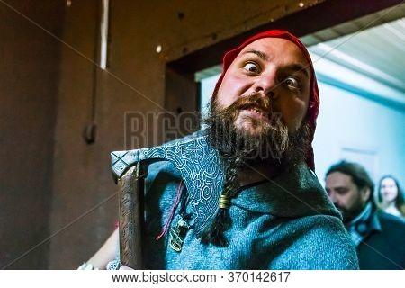 Minsk/ Belarus - October 31 2020: Portrait Of A Man In Woodman Costume. Halloween Concept