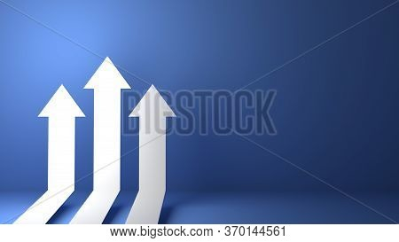 3D Rendered Business Arrow Up Direction Concept To Success Target. Finance Growth Vision Stretching