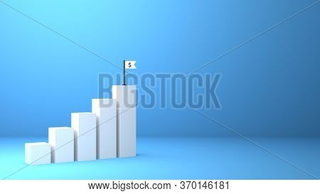 3D Rendered Chart Increase Business Profit Growth To Success. Return On Investment Roi Concept. Doll